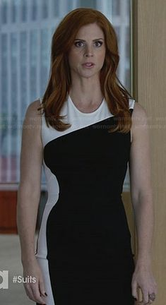WornOnTV: Donna's black and white colorblock dress on Suits | Sarah Rafferty | Clothes and Wardrobe from TV
