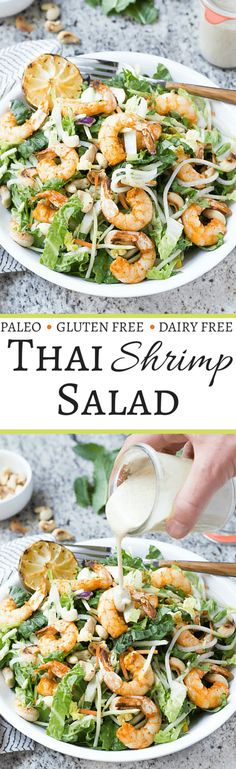 Thai Shrimp Salad with Almond Butter Satay Dressing - This healthy salad has TONS of flavor!