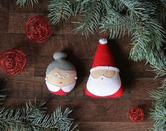 Christmas ornaments Santa and Mrs Claus ornament by MyMagicFelt