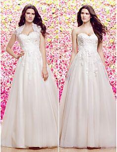Vestido de Noiva-Marfim Trapézio / Princesa Coração Cauda Corte Renda / Tule Pequeno