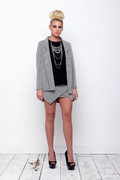 Herringbone Blazer and wrap skirt <3 www.kendelle.com <3