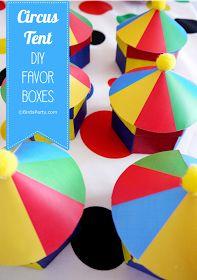Bird's Party Blog: TUTORIALS: Big Top Circus Party - Circus Tent Favor Boxes
