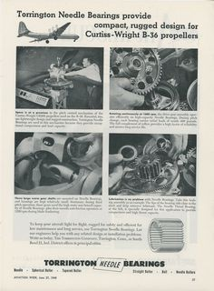 1949 TORRINGTON Needle Bearings Ad Convair B 36 Bomber Curtiss Wright Propellers | eBay