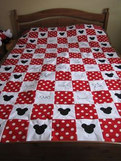 Disney Quilt--i'm Thinking You Could Take The White Squares To The Park And Have The Characters Sign With A Fabric Pen...