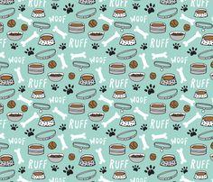 dog bowls // dog accessories bones, dog bone, paw print cute dog illustration pet dog breed pattern fabric by andrea_lauren on Spoonflower - custom fabric
