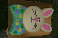 Easter Bunny Cake - So EASY - you make it out of 2 rounds!