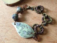Autumn leaf bracelet Artisan Ceramic focal leaf by FloatingVintage, £18.00