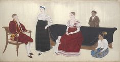 Cock Blomhoff Family, 1817. Rijksmuseum note: Jan  Blomhoff took his family to Japan when Western women were not allowed. A Japanese artist portrayed the family before they had to leave. L to R: Jan, wetnurse, baby Jan,Titia, two Javanese servants. Great portrait!