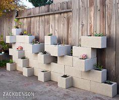Creative DIY Vertical Gardens For Your Home --> Cinder Block Succulent Outdoor Wall Planter Vertical Garden Planters, Vertical Gardens, Fence Planters, Tall Planters, Modern Planters, Jardim Vertical Diy, Cinder Block Garden, Cinder Blocks, Garden Blocks