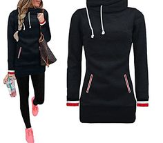 Xuan2Xuan3 Womens Long Sleeve Collar Fleece Casual Pullover Hoodies Sweatshirts Sweater Outerwear Coat Jacket Dress * For more information, visit image link. (This is an affiliate link)