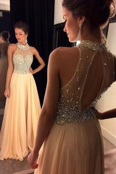 2016 High Neck Prom Dresses A Line Chiffon With Beading Sweep Train US$ 179.99 STPFGR11MD - StylishPromDress.com for mobile