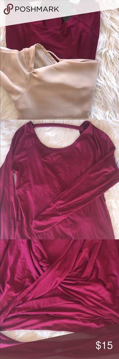 2 Forever 21 tops -bundle Burgundy large size cotton long sleeve backless top/ beige small size blouse with one sleeve only!!(no damages) Forever 21 Tops Blouses