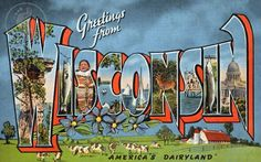 "Greetings from Wisconsin, ""America's Dairyland.""  Vintage Large Letter Postcard Giclee Print"