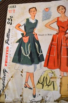 Vintage 50's Simplicity 3383 Apron pattern - Goofing Off