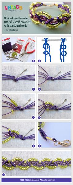 braided bead bracelet tutorial - braid bracelets with beads and cords #knots #macrame