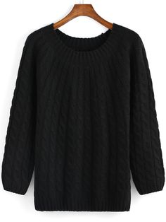 Black Round Neck Cable Knit Sweater ,35% Off for 1st Sign Up