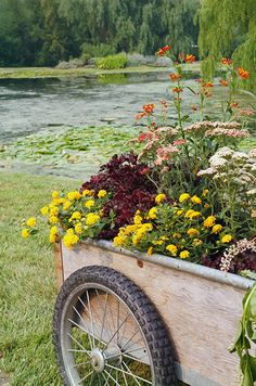 A Wooden Wagon Overflowing With Wildflowers Adds Just The Right Touch To The…