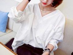 ブラウス・シャツ ◆韓国◆ビッグシルエット!!プルオーバー前後Vネックブラウス(5)