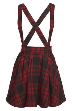 Mini+Cream+Check+Print+Suspender+Skirt+(Women)+available+at+#Nordstrom