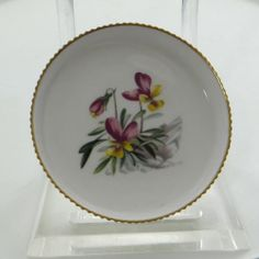 Small Fine Bone China Royal Worcester England Floral Ribbed Gold Trim