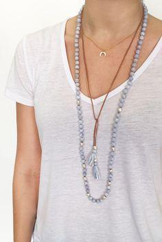 Blue Lace Agate Statement Tassel Necklace - Chan Luu
