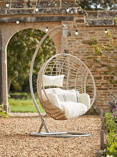 2020 Garden Furniture collections - Outdoors dining table and chairs, hanging rattan chair, perfect for the patio. Hanging Egg Chair, Swinging Chair, Garden Hanging Chair, Garden Swing Chair, Outdoor Hanging Chair, Garden Chairs, Garden Furniture, Hanging Furniture, Outdoor Chairs
