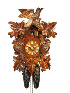 Cuckoo Clock - Carved 8-day 3 birds cuckoo clock 35cm by August Schwer - Cuckoo Collections