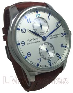 Parnis Portuguese Style 43mm Automatic Silver Power Reserve Seagull 2542 New UK