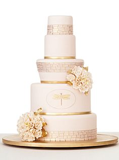 Pink & Gold Wedding Cake - Inspiration from Kate Spade china pattern. Lovely!