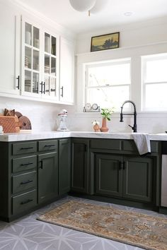 Spring One Room Challenge Week 6 (THE REVEAL! Marble countertops and patterned tile floors. Two Tone Kitchen Cabinets, Cheap Kitchen Cabinets, Kitchen Redo, New Kitchen, Kitchen Remodel, Olive Kitchen, Layout Design, Küchen Design, Floor Design