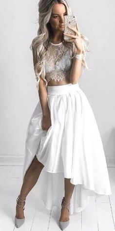 White Hi-lo Two-Piece Lace Top Prom Dress Sexy Party Dress