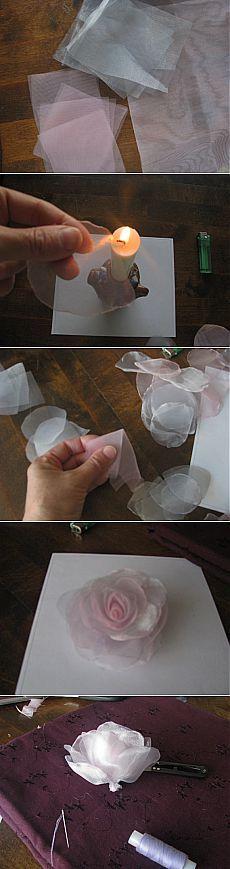 Мини-мастер класс по изготовлению розы из органзы / Цветы из ткани / PassionForum - мастер-классы по рукоделию