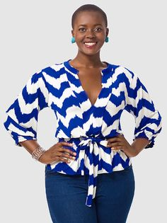 Tbags Los Angeles Smocked Waist Blouse in Chevron