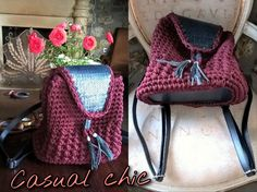 Backpack, Crochet backpack, Leather backpack, Kntitted bag, Genuine Leather detailed backpack, Bordeaux, Blue black, Croco leather, Casual by FeMiGR on Etsy