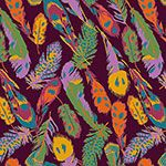 Kingfisher Feathers on Rhododendron Cotton Jersey Blend Knit Fabric