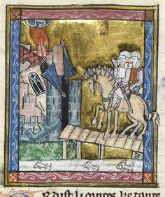 Detail of a miniature of Sir Galahad and his companions on the Quest for the Holy Grail, approaching a castle which is destroyed by lightning (Part 2, Queste del Saint Graal): France, N. (Saint-Omer or Tournai?), c. 1315-1325 (London, British Library, MS Royal 14 E. iii, f. 133v).