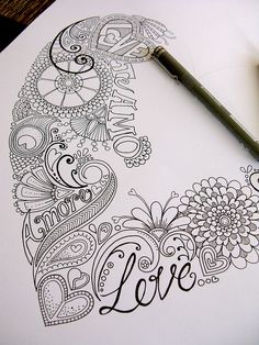 Progress | Hello Angel Creative via Flickr Follow the link for even more amazing and inspired designs! Scripture Doodle, Zentangle Patterns, Zentangles, Valentines Design, Designs To Draw, Book Art, Doodles, Playing Cards, Projects