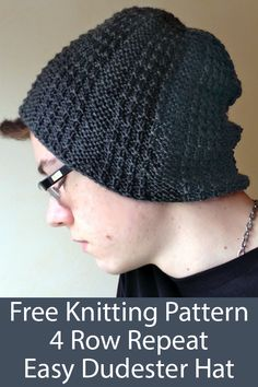 Nov 2019 - Free Knitting Pattern for Easy 4 Row Repeat Dudester Hat - Easy reversible beanie with a 4 row repeat slipped stitch. Uses one skein of DK weight yarn. Rated easy by Ravelrers. Designed by Mimi Kezer. Mens Hat Knitting Pattern, Knit Hat Pattern Easy, Beanie Pattern, Knitting Patterns Free, Free Pattern, Knitting Club, Easy Knitting, Loom Knitting, Knitting Stitches