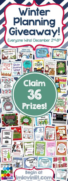EVERYONE WINS the Winter Planning Giveaway at imlovinlit.com! Three prize packs available - choose one or choose them all. K-2, 3-Up Math & Clip Art, and 3-Up ELA & Social Studies. Begin at http://www.imlovinlit.com. December 2nd-8th only.