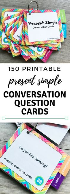 Practice speaking and listening with this printable conversation card set. Includes 150 different present simple questions for elementary English students.