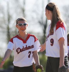 Annville-Cleona's Kaylynn McKinney congratulates A-C's Chrisi Lerchen after striking out a batter on April 13, 2012. A-C went on to defeat Lampeter-Strausburg 2-0. LEBANON DAILY NEWS - JEREMY LONG