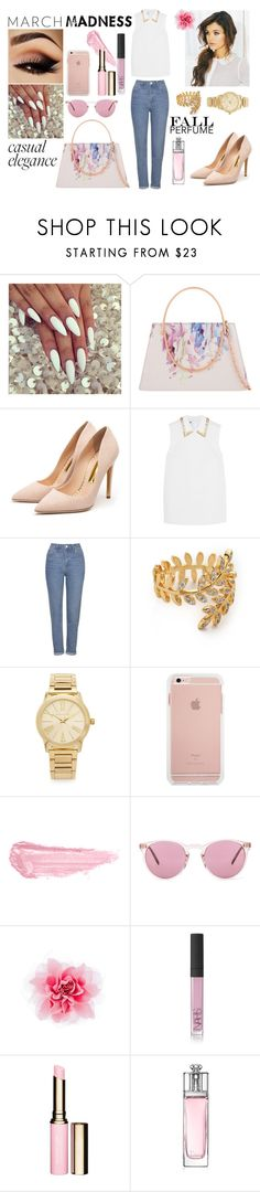 """""""*March*"""" by lejlaaganovic ❤ liked on Polyvore featuring Ted Baker, Rupert Sanderson, Miu Miu, Topshop, Gorjana, Michael Kors, By Terry, Oliver Peoples, NARS Cosmetics and Clarins"""