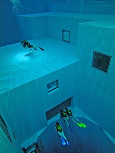 The Nemo 33 diving pool in Belgium is, oddly enough, over 33 meters deep and heated to 33 degrees Celsius. This pool uses un-chlorinated spring water.