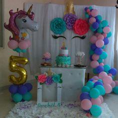 Baby Girl Birthday Theme, Rainbow Birthday Party, 10th Birthday Parties, Birthday Balloons, Diy Birthday Decorations, Balloon Decorations, Unicorn Party, Ideas Aniversario, Horse Birthday Cakes