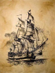 Bateaux Woman T-shirts wonder woman movie t shirt mens Tattoo Pirate, Pirate Ship Tattoos, Vintage Nautical, Nautical Art, Nautical Tattoos, Vintage Maps, Pirate Ship Drawing, Pirate Ship Painting, Pirate Art