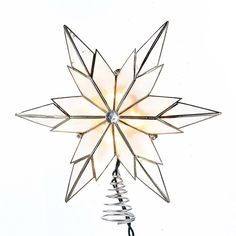 Kurt Adler 10-Light Capiz Scrollwork Starburst Treetop with Gem Center (10-Light Capiz Starburst Treetop), Grey metal