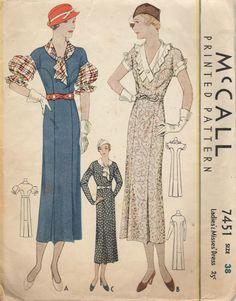 1933 McCall 7451 Ladies' & Misses' Dress Pattern 3 Sleeve Option size 38/bust 38