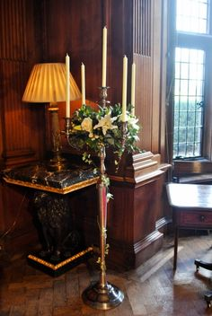 Thornton Manor Flowers - Wedding Ceremony Room  Floor standing candelabra with avalanche roses and oriental lillies - Flowers by Laurel Weddings