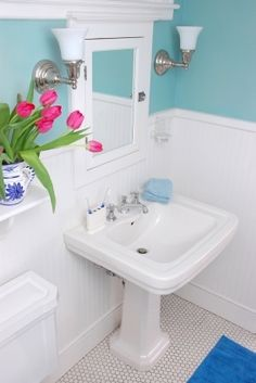 Bathroom Classic Blue Wall with White Wainscot    i love this turquoise type color with the white wainscoting