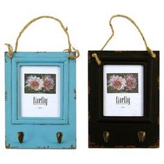 "Set of two distressed wood picture frames with hooks.  Product: 2 Piece picture frame setConstruction Material: Wood, metal and ropeColor: Blue and blackFeatures: Holds one 5"" x 7"" photo eachDimensions: 17"" H x 7"" W x 2"" D"